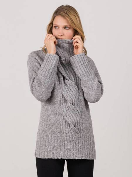 Margaret O'Leary Cabled Tunic Pullover - Granite