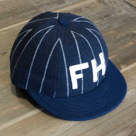 The Foxhole x Ebbets Field Flannels 8 Panel Fitted Pinstripe Wool Cap - Navy/Cream