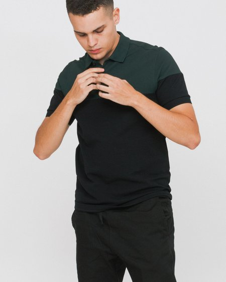 Fred Perry Short Sleeved Polo Shirt With Panels - Black/Green