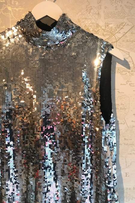 Tibi Sequin Shell Turtleneck Top