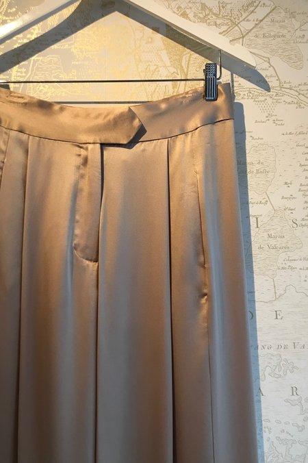Michelle Mason Silk Charmeuse Wide Leg Pant