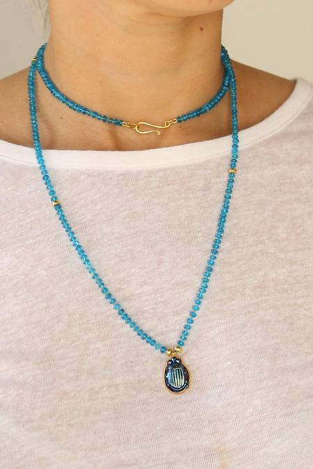 Darlene De Sedle Apatite Gold Beads Tiffany Glass Scarab Beaded Necklace -