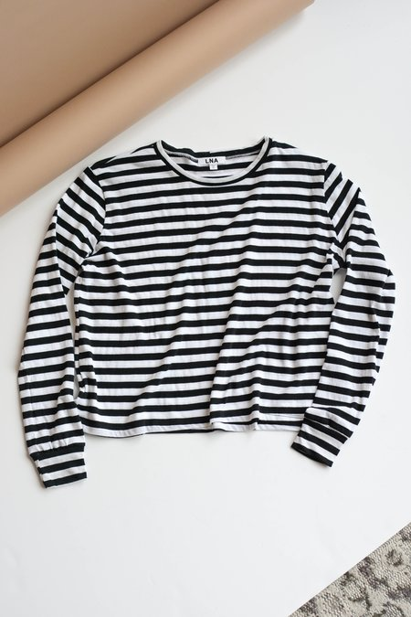LNA Drop Shoulder Tee Stripes - Black/White