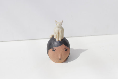 Rami Kim Lady Sculpture with Kitty