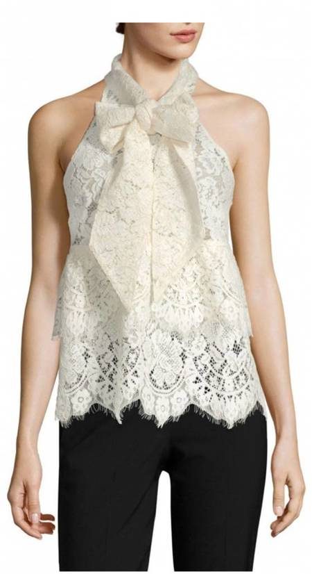 Ganni Jerome Lace Top - Ivory