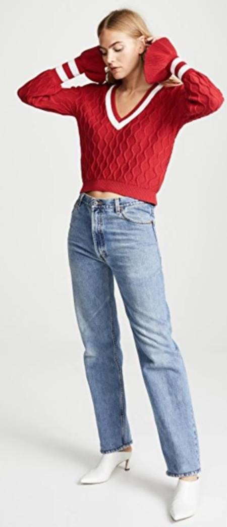 The Fifth Label Graduate Knit Sweater - Berry/White