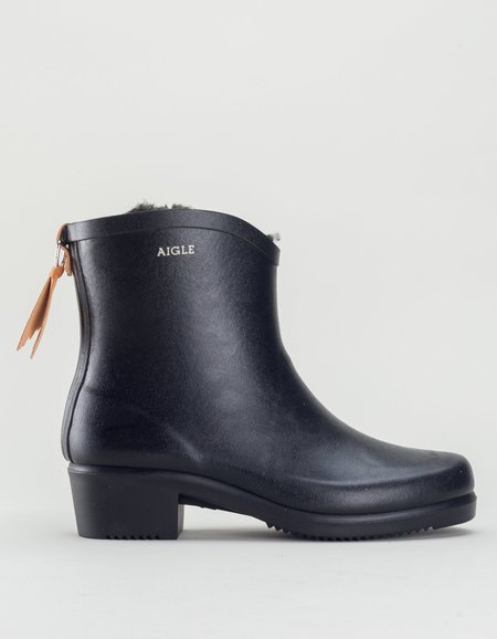 Aigle Miss Juliette Rainboot With Fur - Black
