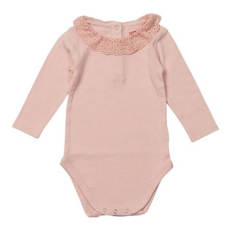 KIDS Bonton Baby Bodysuit With Lace Collar - Petal Pink