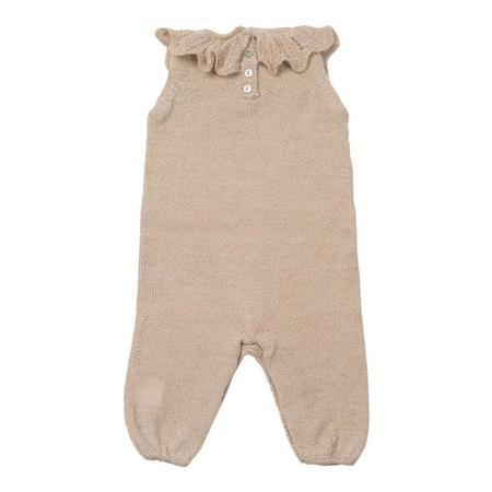 Kids Bonton Knitted Jumpsuit With Collar - Beige Brown