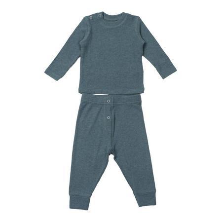 KIDS Bonton Baby Two Piece Set Long Sleeved Shirt And Leggings - Storm Blue