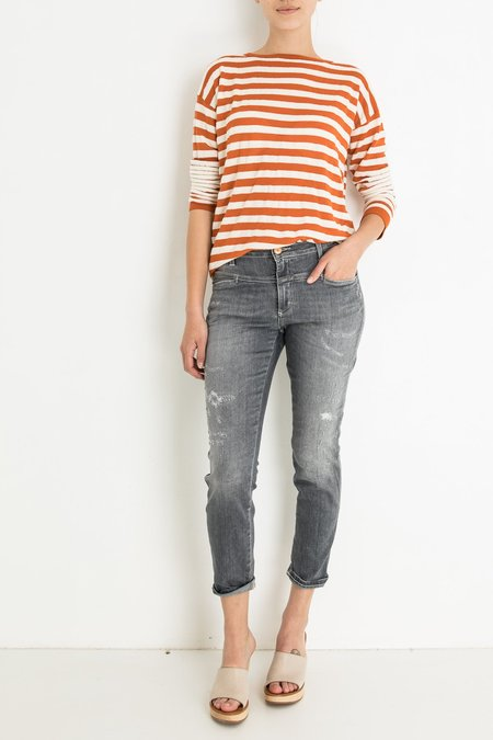 Closed Cropped Worker with Repairs Jeans - Grey