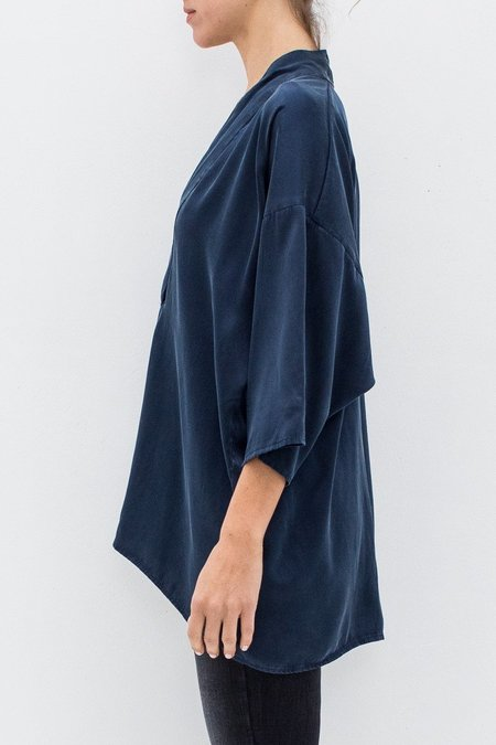 Kloni & The Krew Laura Silk V-Neck Tunic - Navy