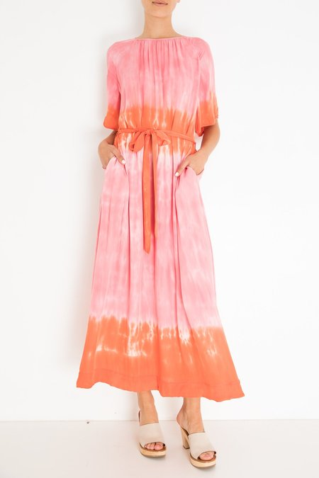 Raquel Allegra Reverse Flutter Sleeve Dress - Tie Dye Grapefruit