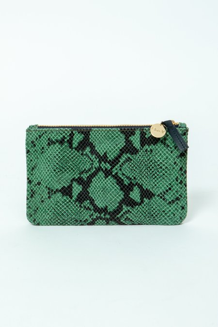 Clare V. Snake Embossed Leather Wallet Clutch - Green