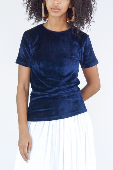 Baserange Shiny Velour Omo Tee - Midnight Blue