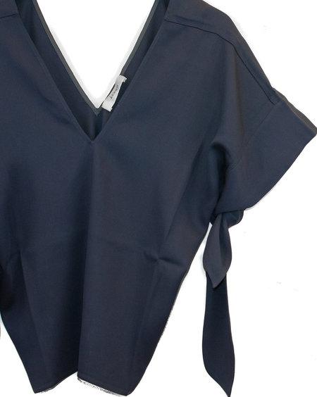Aeron Bow Tie Sleeve Top - Navy