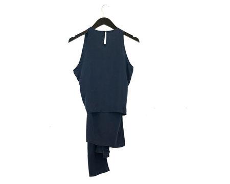 Aeron Tie Front Sleeveless Top - Navy