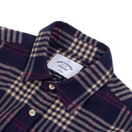 Portuguese Flannel Tomar Shirt - Navy Plaid