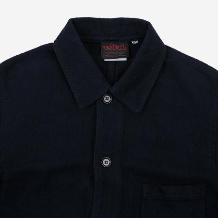 Vetra Workwear Chore Jacket - Navy Cotton/Linen Herringbone