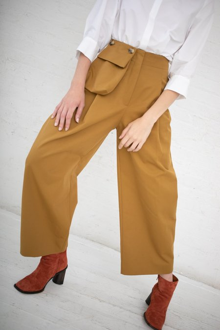 Studio Nicholson Pocket Double Loose Cotton Leg Pants- Mustard Herringbone