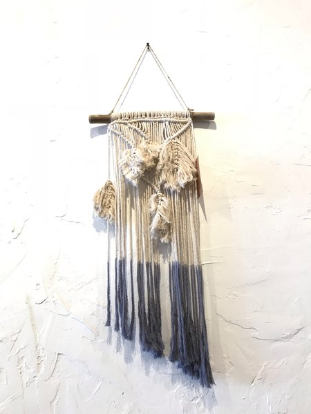 Claudine Lally Macrame Feather Wall Hanging - Blue Ombre