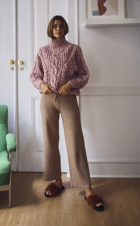 Daisy Wide Leg Knit Trousers - Camel
