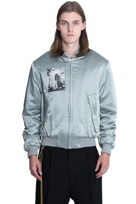 Song For The Mute Rock Satin Padded Reversible Bomber Jacket - Grey
