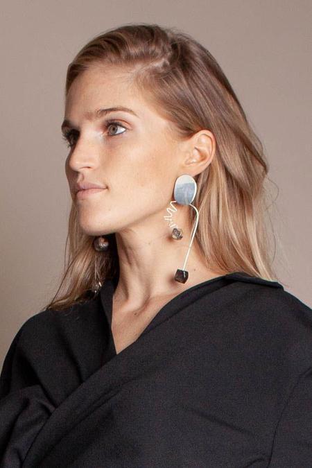 Modern Weaving Arch earrings - Wood/Opalite
