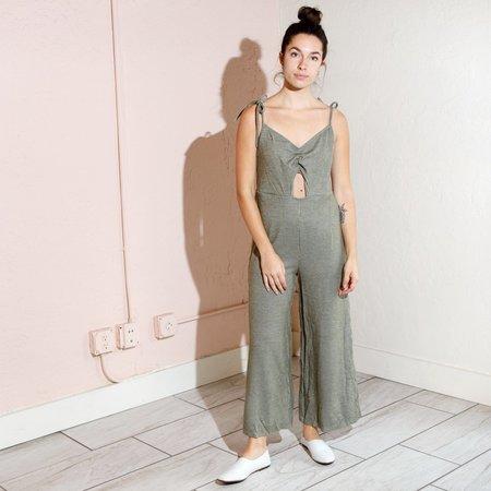 Line & Dot Iona Jumpsuit - Ivory/Olive