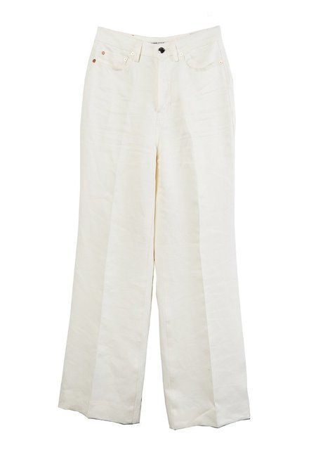 Westley Austin Linen 5 Pocket Flare Pants - Ivory