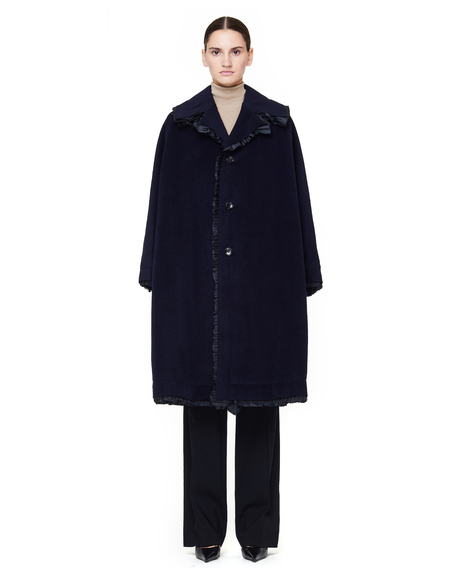 Comme des Garçons Angora Wool Coat - Navy Blue