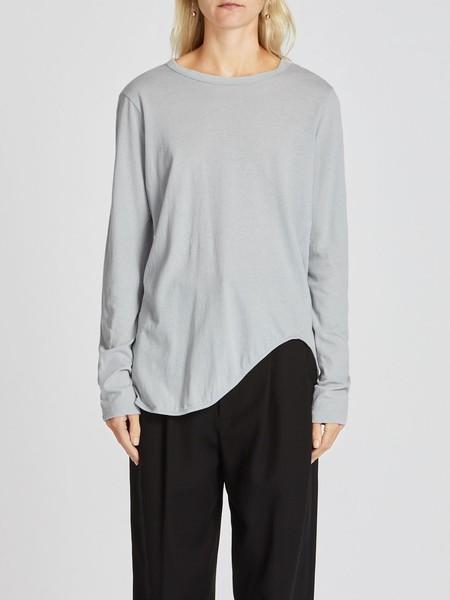Bassike Heritage Scoop Hem Long Sleeve T-shirt - Concrete