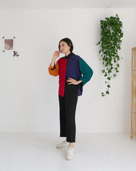 Kaleidos Vintage 90's Color Block Silk Blouse