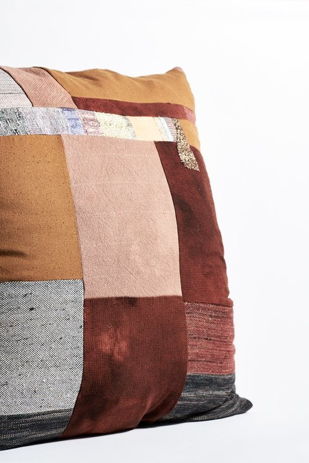 Jess Feury Patchwork Pillow  - Rust/Rose Center