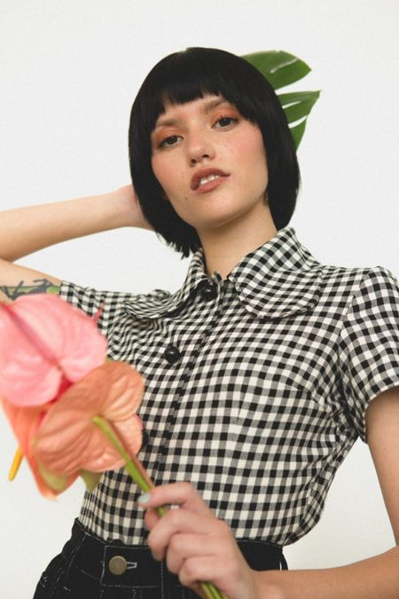 Lykke Wullf Rose Button Up - BLACK/WHITE