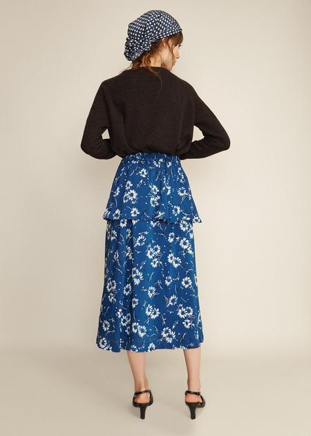 Caramel Circle Peplum Skirt - Blue Winter Flower