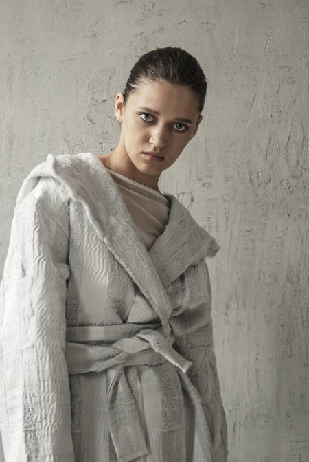 K M by L A N G E Kozhyh Wool Texture Coat - Gray
