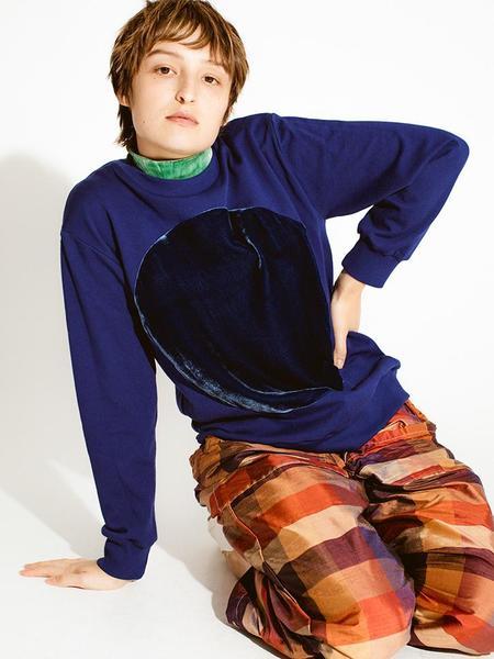 Unisex Correll Correll Velvet Circle Sweatshirt - Royal Blue