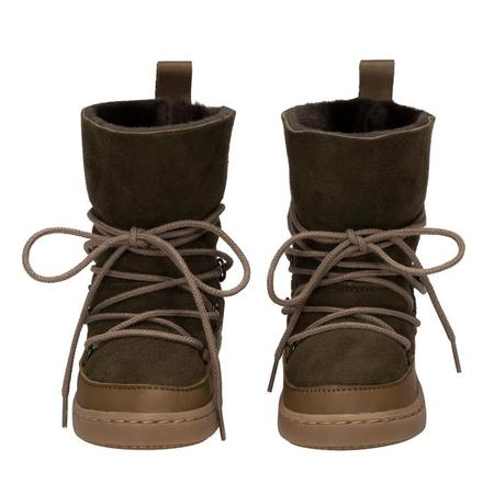 KIDS Birds Of Nature Baby And Child Moon Boots With Fur Lining - Moss Green