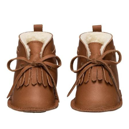 KIDS Birds Of Nature Baby Winter Desert Booties With Fur Lining - Hazel Brown