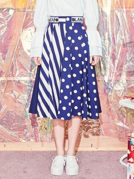 Blank Dot Mix Flared Skirt - Navy