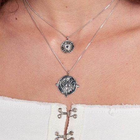 Luv AJ Evil Eye Double Coin Necklace - Silver