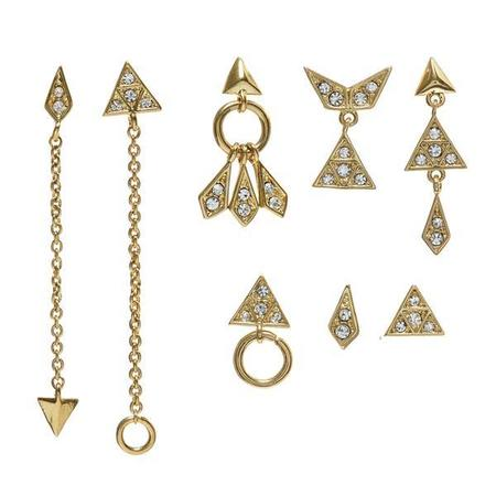 Luv AJ Pave Kite Mixed Earring Set -  Gold