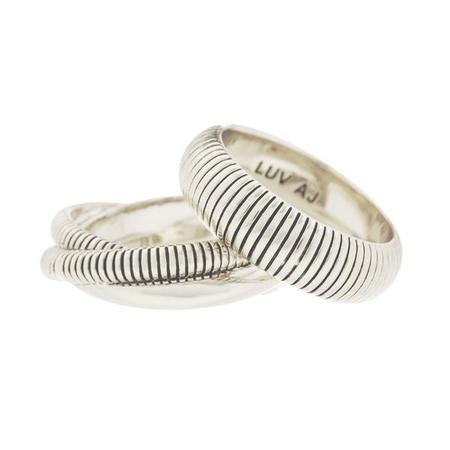 Luv AJ Snake Chain Cigar Rings - Silver