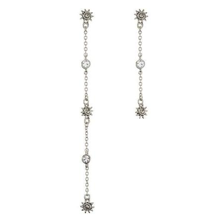 Luv AJ Sunburst Drop Chain Studs - Silver