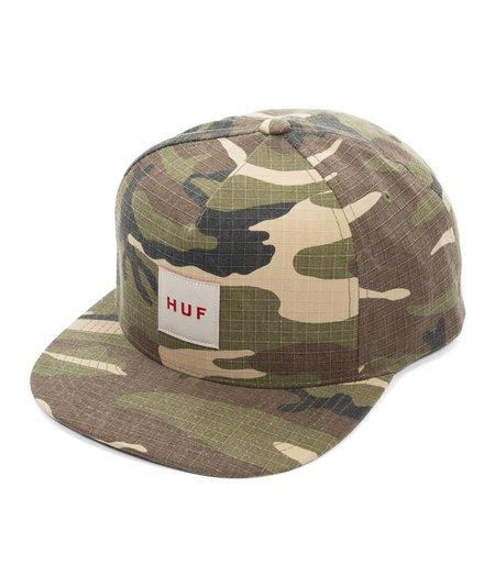 HUF Ripstop Box Logo Snapback Hat - Olive