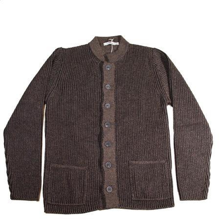 Inis Meáin Nehru Collar Knit Jacket - Brown