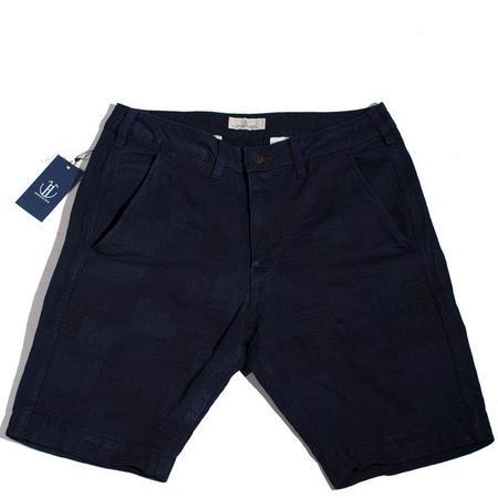 Japan Blue Patchwork Knee Shorts - Dark Navy Indigo