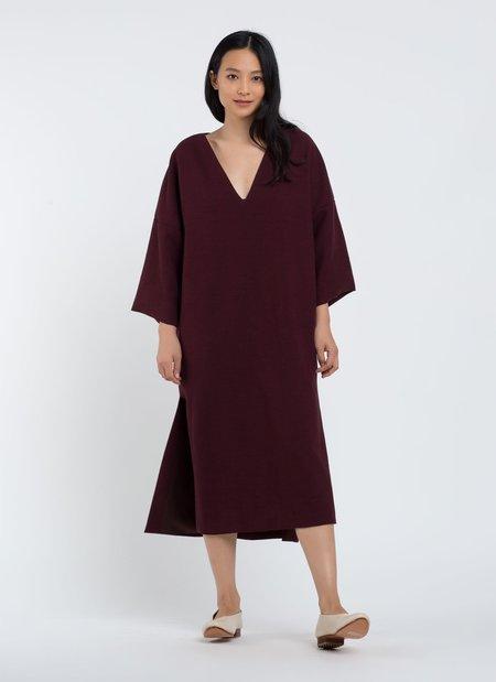Kaarem Mangrove Dropped Shoulder V-Neck Dress - Berry Sesame