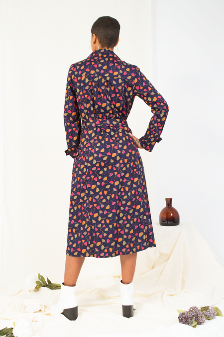 People Tree V&A Coat Dress - Navy Multi